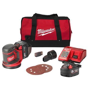 Milwaukee M18BOS125-502B 18 Volt Random Orbit Sander, 2 x 5.0Ah Batteries