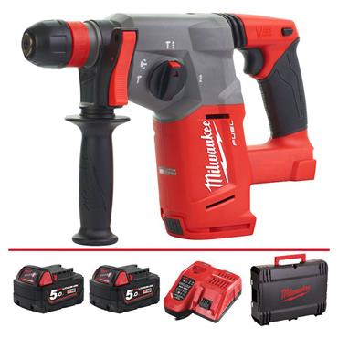 Milwaukee M18CHX-502X 18 Volt Fuel SDS-Plus Hammer Drill, 2 x 5.0Ah Batteries