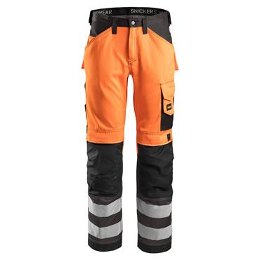 Snickers 3333 Class 2 High-Visibility Trousers - Orange/Muted Black
