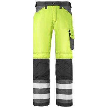Snickers 3333 Class 2 High-Visibility Trousers - Yellow/Muted Black