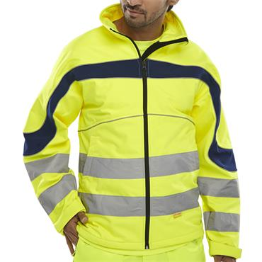 CITEC ET40SY High-Visibility Softshell Jacket - Saturn Yellow/Navy