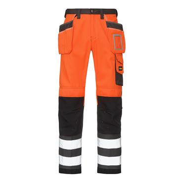 Snickers 3233 Class 2 High-Visibility Holster Pocket Trousers - Orange/Muted Black