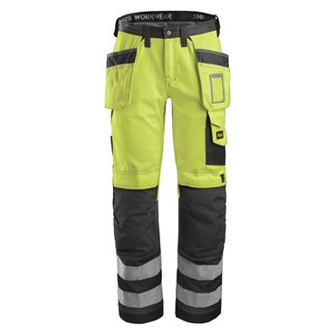 Snickers 3233 Class 2 High-Visibility Holster Pocket Trousers - Yellow/Muted Black