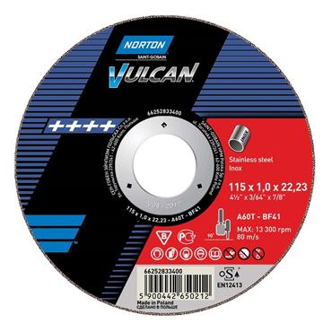 Norton 115 x 1mm Vulcan Flat Inox Cutting Disc - 66252833400