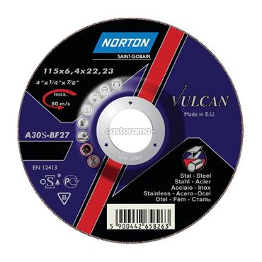 Norton 115 x 6.4mm Vulcan Flat Inox Cutting Disc - 66252925522