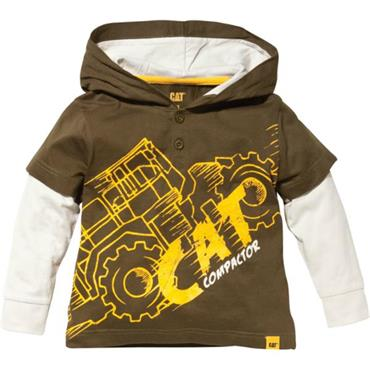 Caterpillar 1510253 Boys Hooded Compactor T-Shirt - Dark Beige