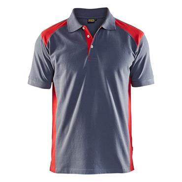 Blaklader 3324 Pique Polo Shirt - Grey/Red