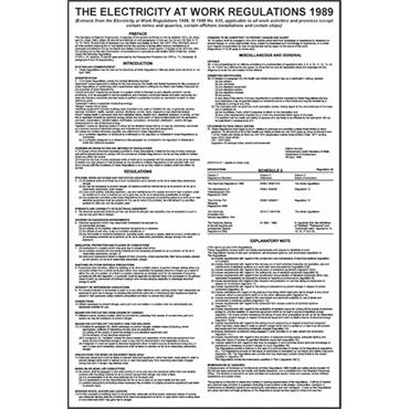 "CITEC ""THE ELECTRICITY AT WORK REGULATIONS 1989"" 400 x 600mm RPVC Safety Poster"