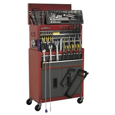 Sealey AP2200BBCOMBO 128 Piece Topchest and Rollcab Combination 6 Drawer Tool Kit