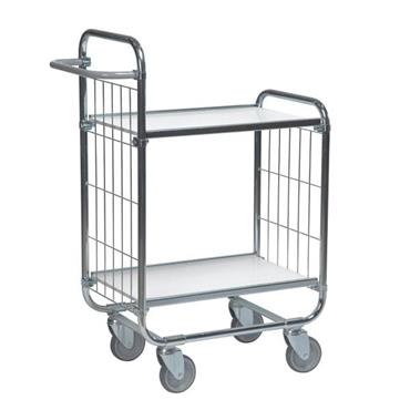 KM 8000-2M 2-Shelf Electro Galvanized/White Flexible Medium Trolley
