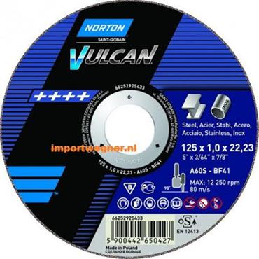 Norton 125 x 1mm Vulcan Metal and Stainless Steel Cutting Disc - 66252833402
