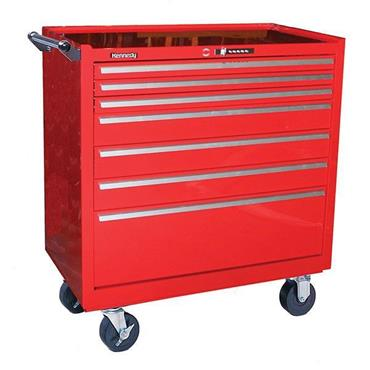 Kennedy 3407XSR 7-Drawer Red Professional Roller Cabinet