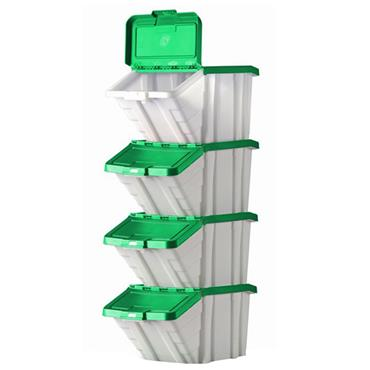 Top Store 052104/4 50 Litre Multi-Functional Containers Bins with Green Lids - 4 Pack