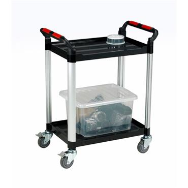 CITEC WHTT2SS 2-Shelf Black Utility Tray Trolley