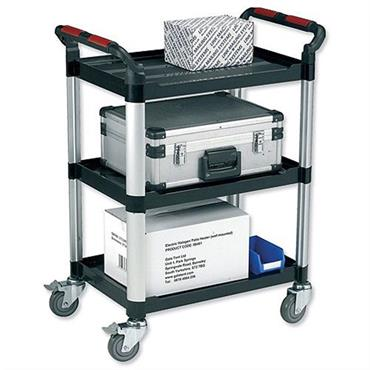 CITEC WHTT3SS 3-Shelf Black Utility Tray Trolley