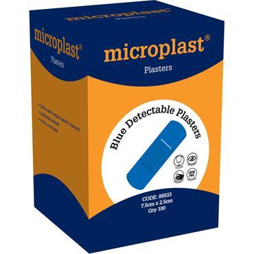 Crest Medical 86933 Microplast Blue Detectable Plasters 7.5cm x 2.5cm Box 100