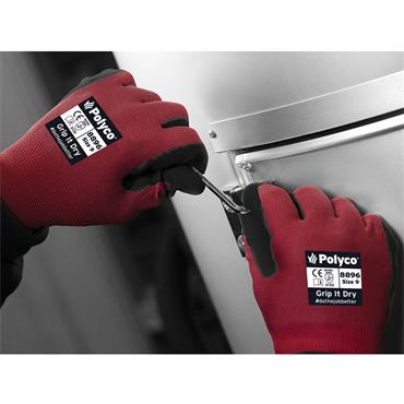Polyco Grip Dry Knitted Nylon Gloves with Sponge Latex Palm Coating