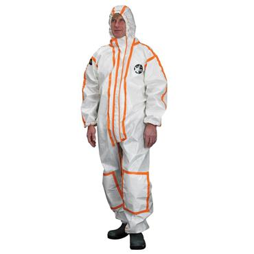 Alpha Solway X200 Limited Life Chemical Protective Coverall - White/Orange Trim