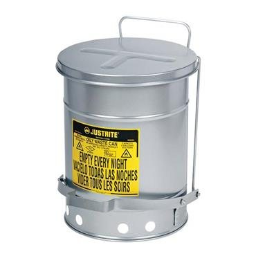 Justrite 09304 38 Litre Foot-Operated Self-Closing Steel Oily Waste Can