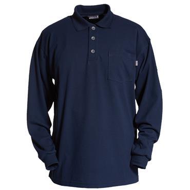Tranemo 5945 89 Flame Retardant  Long Sleeve Poloshirt - Navy