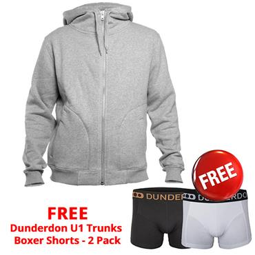 Dunderdon S18 Zipped Hoodie Sweatshirt - Grey Melange