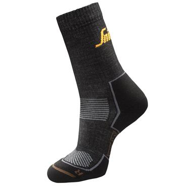 Snickers 9206 Anthracite Melange/Black RuffWork Cordura Wool Socks - 2 Pack