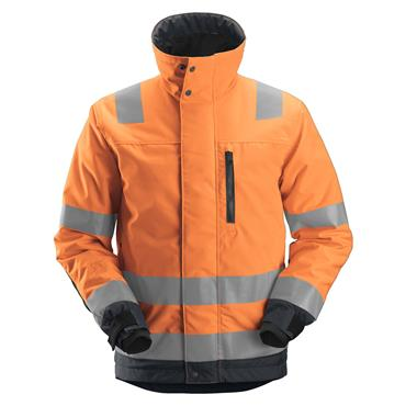 Snickers 1130 Class 3 High-Visibility Insulated Jacket - Orange/Steel Grey
