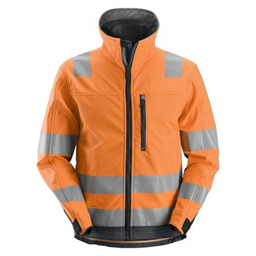 Snickers 1230 Class 3 AllroundWork High-Visibility Softshell Jacket - Orange/Steel Grey