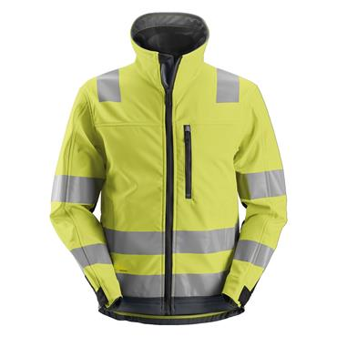 Snickers 1230 Class 3 AllroundWork High-Visibility Softshell Jacket - Yellow/Steel Grey