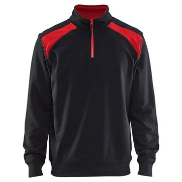 Blaklader 3353 Half Zip 2-Tone Sweatshirt - Black/Red