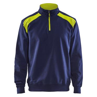 Blaklader 3353 Half Zip 2-Tone Sweatshirt - Navy Blue/Yellow