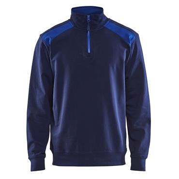 Blaklader 3353 2-Tone Half Zip Sweatshirt - Navy Blue/Cornflower Blue