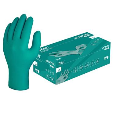 Skytec Teal Green Nitrile Disposable Gloves Box of 100