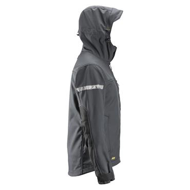 Snickers 1229 AllroundWork Softshell Jacket with Hood - Steel Grey/Black