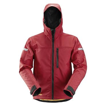 Snickers 1229 AllroundWork Softshell Jacket with Hood - Chili Red/Black