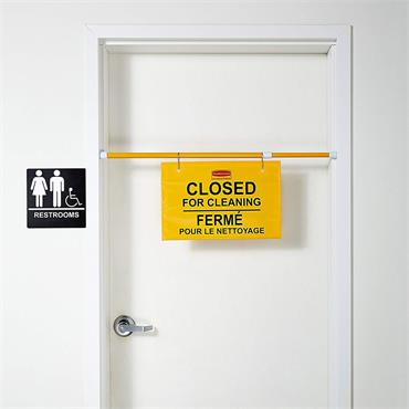 "Rubbermaid FG9S1600YEL"" CLOSED FOR CLEANING"" Hanging Doorway Safety Sign - Yellow"