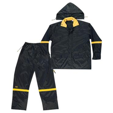 Custom Leathercraft R103 3 Piece Deluxe Nylon Rain Suit - Black