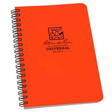 Rite in the Rain OR73 Blaze Orange All-Weather Universal Side Spiral Notebook