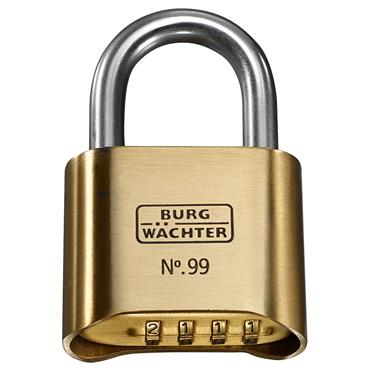 Burg 99NI50SB Rust-Free Brass Combination Padlock