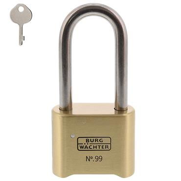 Burg 99NI50B65SB Rust-Free Brass Long Shackle Combination Padlock