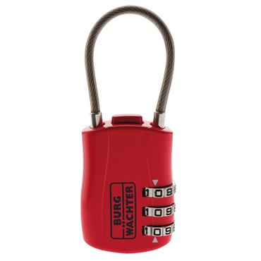 Burg COMBI7330SB Red Wire Shackle Combination Padlock