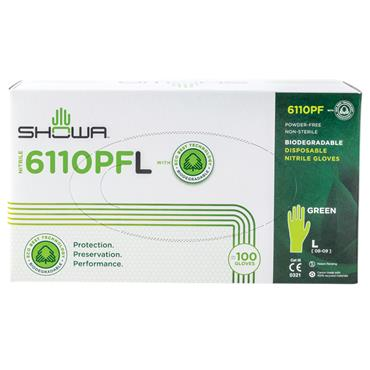 Showa 6110PF Green Biodegradable Disposable Gloves Box of 100