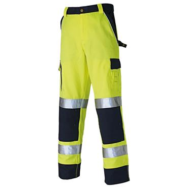 Dickies SA30035 Industry 300 High-Visibility Trousers - Yellow/Navy