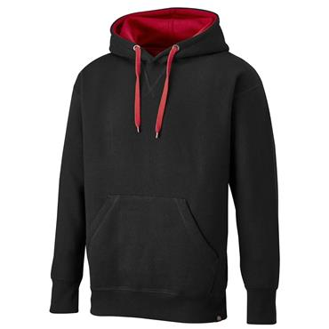 Dickies SH3007 Two Tone Hooded Pullover - Black/Red