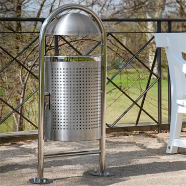 Moravia 512.27 Traffic-Line Surface Fixing Stainless Steel Litter Bin and Ground Anchors