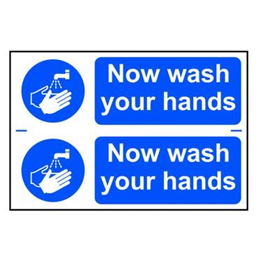 "Citec 0404 ""NOW WASH YOUR HANDS"" PVC 300 x 200mm"