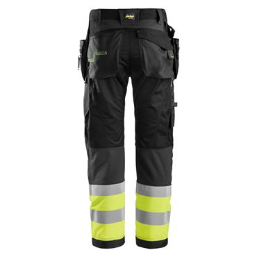 Snickers 6931 FlexiWork High-Visibility Holster Pocket Trousers - Black/Yellow