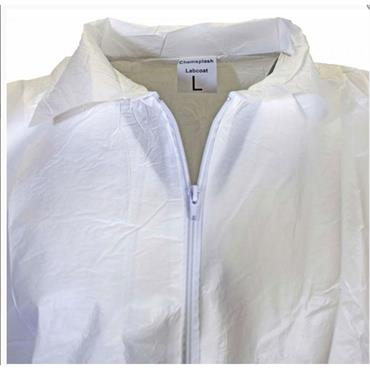 Chemsplash 2549 2/3 Length Lab Coat with Collar and Zip Closure