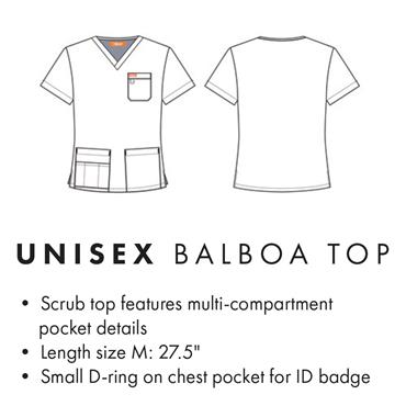 Orange Standard Unisex Balboa Scrub Top Charcoal