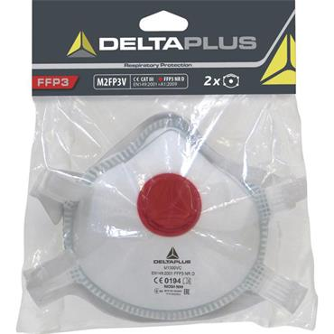 Delta Plus M2FP3V FFP3 Face Mask with Valve Pack of 2
